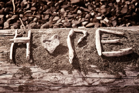 Words that spell hope are made out of sticks and stones