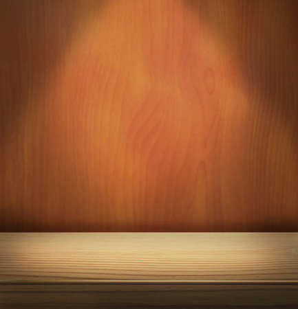 Spotlight on wooden stage and wall