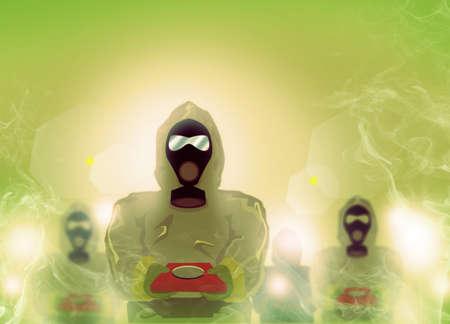 Men in Biohazard suit emerges from smoke