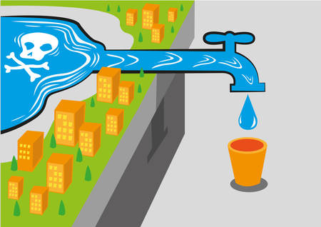 Illustration pour A community gets water from a contaminated source like lead which is deadly. - image libre de droit