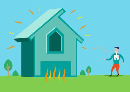 Illustration pour House in flames or with Asbestos or Radon Radiation. Editable Clip Art. - image libre de droit