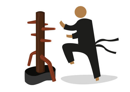Illustration pour Man Attacks a Wooden Dummy used in personal training by martial artist. Editable Clip Art. - image libre de droit