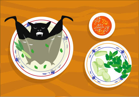 A Flying fox or Bat soup or paniki is a popular dish in Asia like in China which is called Ye Wei and in Pacific Rim  like in Palau and Vanuatu. Editable Clip Art.