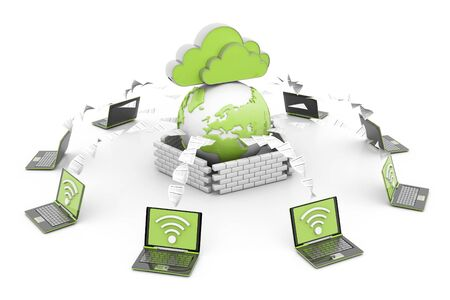 Photo for Cloud computer network. 3d render - Royalty Free Image