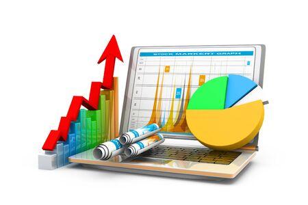 Photo pour Business graph with chart. 3d rendering - image libre de droit