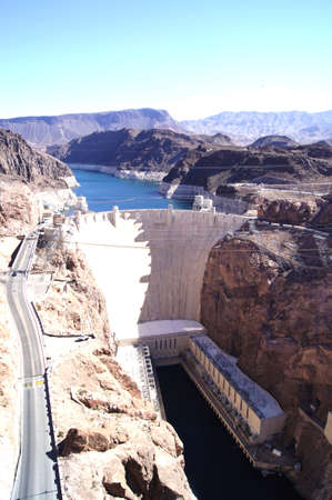 Hoover Dam view from the new freeway dam bypass