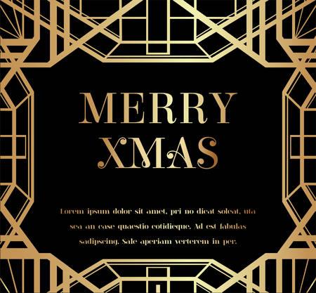 Illustration pour Merry Christmas or Xmas Art Deco Invitation Design - image libre de droit