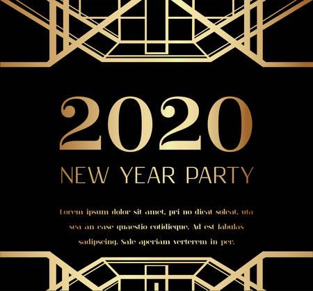 Illustration pour 2020 New Year Party Art Deco Invitation Design - image libre de droit