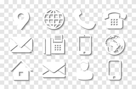 Illustration for White Contact Info Icon Set with Shadows for Location Pin, Phone, Fax, Cellphone, Person and Email Icons. - Royalty Free Image