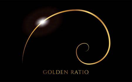 Illustration pour Fibonacci or Golden Ratio Black and Gold Spiral Background Illustration - image libre de droit