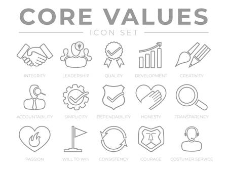 Illustration pour Company Core Values Outline Web Icon Set. Integrity, Leadership, Quality and Development, Creativity, Accountability, Simplicity, Dependability, Honesty, Transparency, Passion, Will to win, Consistency, Courage and Customer Service Icons. - image libre de droit
