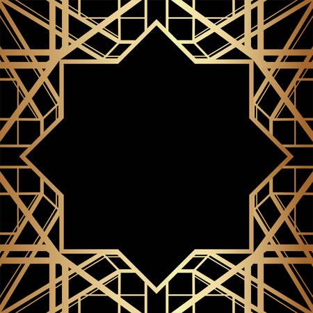 Illustration for Geometric Gatsby Art Deco Style Border Frame Design - Royalty Free Image