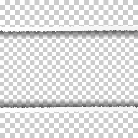 Illustration pour Straight Ripped Paper Border with Shadows Isolated on Transparent Background. Realistic Horizontal Paper Edge - image libre de droit