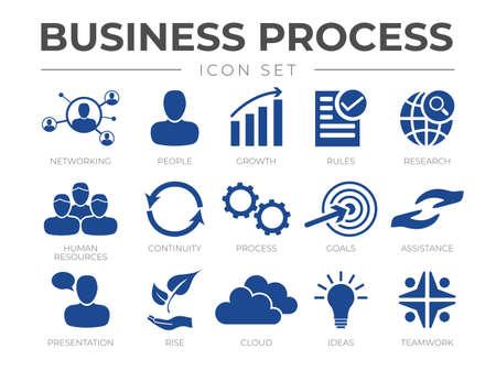 Illustration pour Business Process Marketing Icon Set for Company - image libre de droit