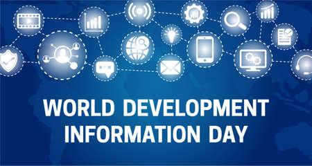 World Development Information Day Background Banner Illustration