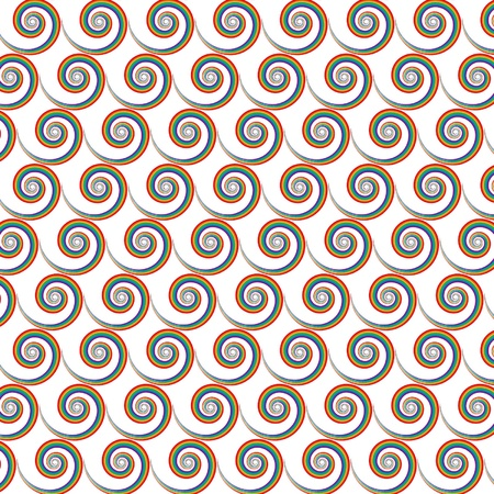 Seamless repeated rainbow color spiral pattern