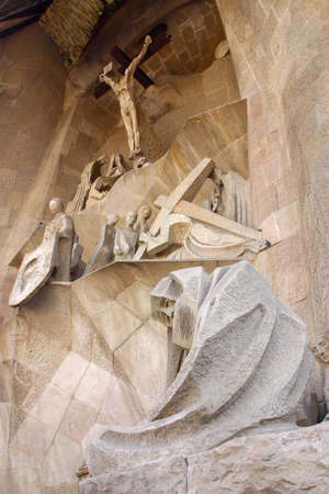 passion facade of la Sagrada Familia at the city of Barcelona, Catalunya, Spain, Europe