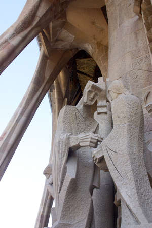 detail of the passion facade of la Sagrada Familia at the city of Barcelona, Catalunya, Spain, Europe