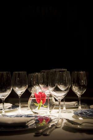 wine glass detail in an elegant dinner