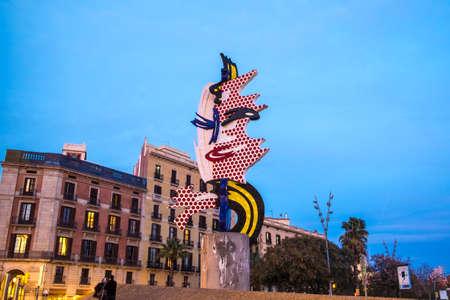 Barcelona, Spain - February 29, 2016: El Cap de Barcelona or La Cabeza de Barcelona sculpture of Roy Lichstenstein in Barcelona Catalonia Spain
