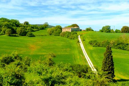 Countryside landscape around Monteriggioni in Tuscany Italy Europe