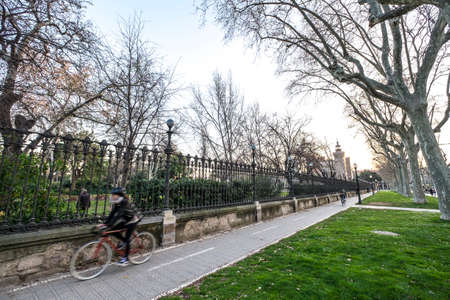 Barcelona, Spain - February 20, 2017: In the recently years the bicycles are one of the most important transports in the city