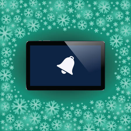 Digital tablet with shiny sensor screen on snow flakes Christmass and New Year background. Electronic smart device. Mobile gadget. Vector illustration