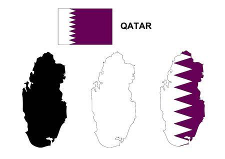 Qatar map vector, Qatar flag vector, isolated Qatar: Royalty-free ...