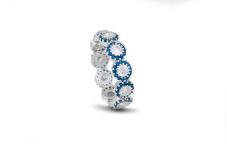 Foto de Diamond and gemstone 92.5 Silver Ring under white background - Imagen libre de derechos