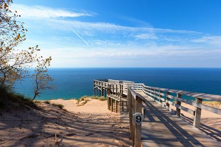 Scenic Overlook 9 at Sleeping Bear Dunes National Lakeshore. This overlook offers a stunning vista of Lake Michigan