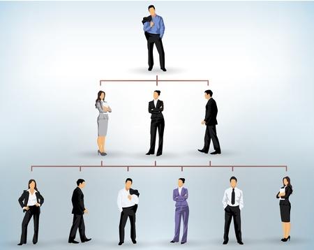 Illustration pour business people silhouettes in a pyramidal structure - image libre de droit