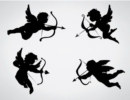 collection of 4 cupid silhouettes