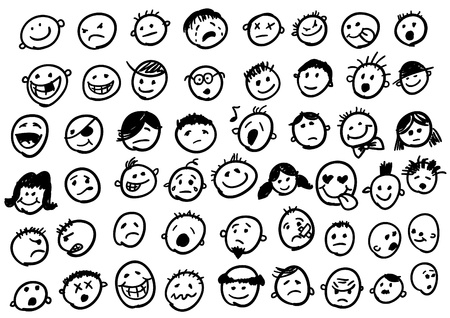 set of cute doodled faces