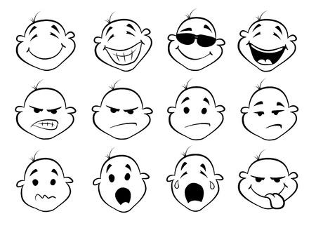 collection of cute cartoon faces