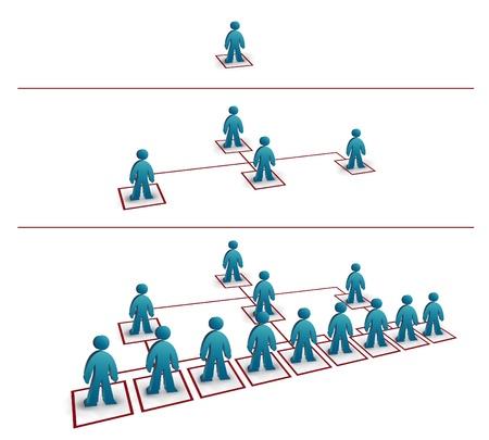 Illustration pour simulation of a pyramidal network growth - image libre de droit