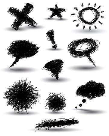 Illustration pour handdrawn speech bubbles and other elements - image libre de droit