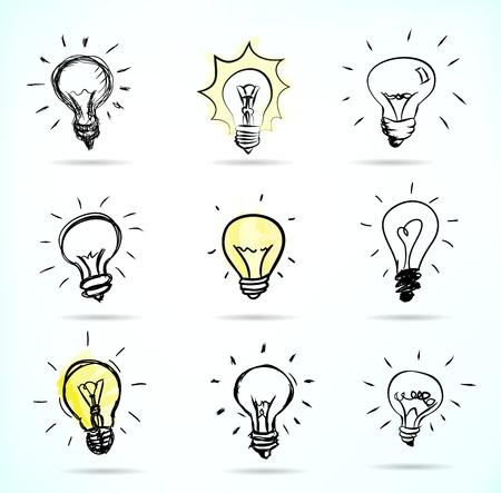 Hand-drawn light bulb illustrations