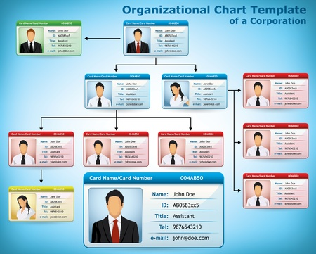 Illustration pour Company Structure Diagram with personalized cards for employees - image libre de droit