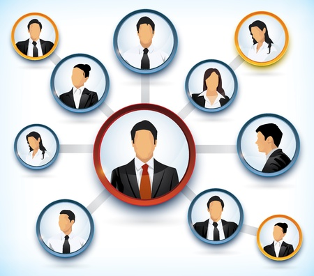 Photo for Presentation of a network structure with avatars of business people - Royalty Free Image