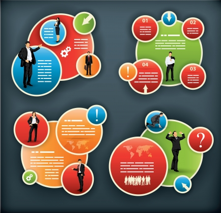 Foto de An infographic template for corporate and business with spherical elements and people illustrations - Imagen libre de derechos