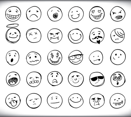 Illustration for Set of thirty hand drawn emoticons or smileys each with a different facial expression and emotion, sketched outline on white - Royalty Free Image