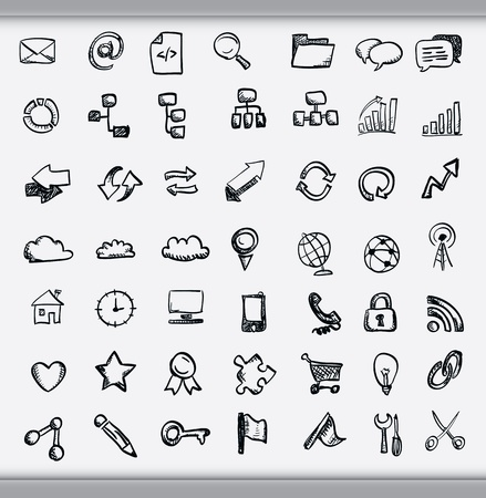 Collection of hand drawn icons representing a diversity of topics including communication, graphs, weather and business sketched in ink on white paper