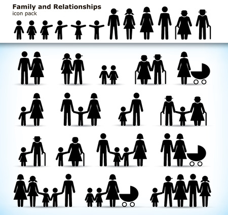 Editable set of family pictograms with children, parents and grandparents