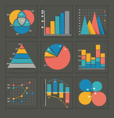 Set of colored vector business graphs in various designs showing a pyramid, pie chart, bar graph, overlapping circles, dots and interlocked depicting statistics, analysis, performance, and projections