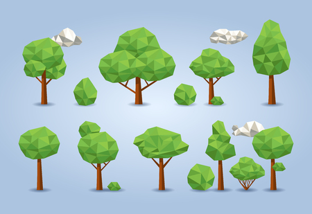 Geometric low poly tree set. deciduous trees, bushes and clouds