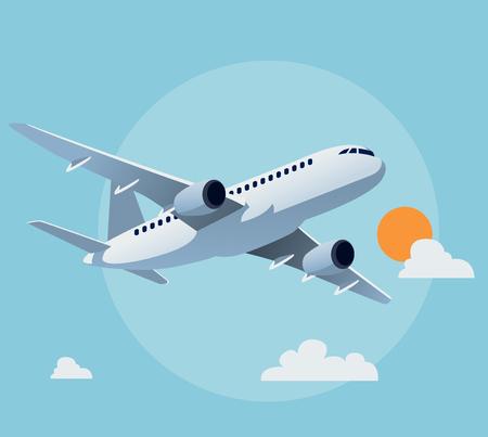 Ilustración de Flat airplane illustration, view of a flying aircraft - Imagen libre de derechos