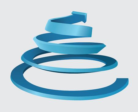 Ilustración de Three dimensional spiral with an upward movement and arrow on the top - Imagen libre de derechos