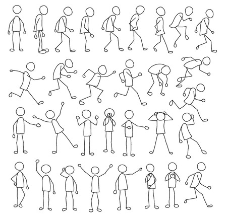 Illustration pour Stick figures collection with running, standing, waiting stick figures, and stick figures also in other poses - image libre de droit