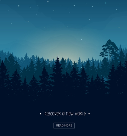 Illustration pour Coniferous forest silhouette background image with nightime stars and rays of the sunset - image libre de droit