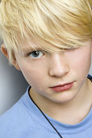 young blond caucasian boy portrait